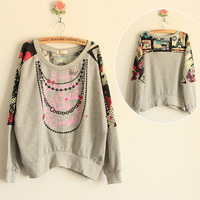 For nec  klace print pattern loop pile liner loose batwing sleeve sweatshirt