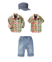 Retail New Free shipping Brand Boy's Long sleeve T-Shirts+Demin Jeans+Cap/Boy's Blouse+Trousers+hat/Children's Clothes 3In Sets