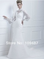 Noble lace round neck long-sleeved high-grade chiffon fishtail wedding dress Slim chiffon long trailing wedding