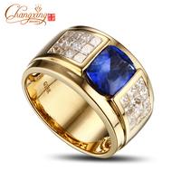 14K Yellow Gold AAAAA 3.1ct Tanzanite Princess Cut Diamond Engagement Mens Ring
