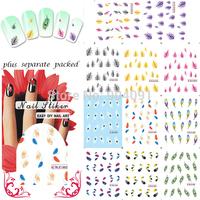 HOTSALE 50sheet/lot Nail Art Design Feather Nail Tattoo Sheets Decals nail accessories FOR NAIL ART+individually packaging