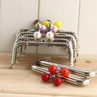Lovely silver k152 10cm laciness candy color purse frame diy bag accessories