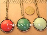 Popular Retro Necklaces for women Green/Red/Fruit Green Round Shape Pendant T-shirt Chain Min.order Is$10mix orderFree Shipping