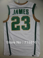# 23 James High School  Green and white mesh jersey and free shipping