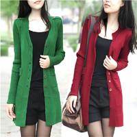 Autumn sweater female sweater medium-long sweater cardigan slim long-sleeve top