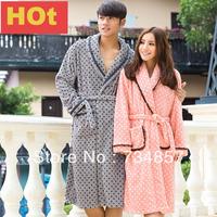2013 new shelves lovely warm and stylish male couple Polka Dot Lingerie pajamas coral velvet suit tracksuit
