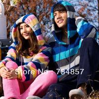 2013 new lovers pajamas coral velvet suit fashion stripes comfortable men casual couple pajamas wholesale manufacturers