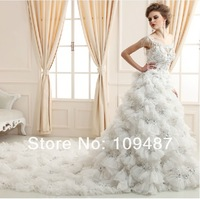 Word shoulder wedding dress lace wedding dress was thin long tail ultimate luxury classic luxury super deluxe hot drill tailing