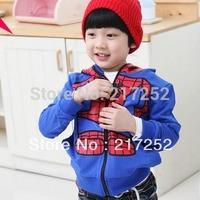 2013 childrens hooded Spider-Man printing hooded sweater girl's top shirts Hooded Sweater Spider-Man zipper hoodie