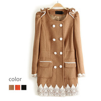 2013 women's crochet patchwork double breasted o-neck long-sleeve wool coat outerwear e27