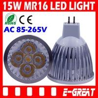 50PCS/LOT Ultra Bright Cree MR16 Led 15W Bulb MR16 Led Lamp Led Light Led Spot light AC/DC12V Warm/Cool White,DHL/EMS Shipping