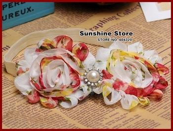 Sunshine store #2B2265  10 pcs/lot baby headband girls Vintage Chiffon Rosette -Shabby chic flower diamond/rhinestone/pearl CPAM