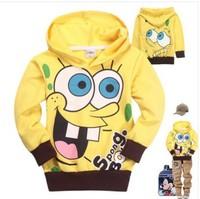 2013 Autumn New Arrival Child Boys Girl Hooded Long Sleeve Hoodies Spongebob cartoon top kids t shirts baby cotton hood