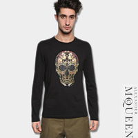 Mc 2013 flowers skull print casual o-neck long-sleeve t-shirt male three-color