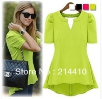 happy SZ  spring summer wear T-shirt style dress chiffon shirts with short sleeves lace render unlined upper garment FWT003