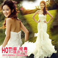 Cii fishtail trailing Korean princess bride wedding dress New arrival new large size women crystal diamond custom luxury French