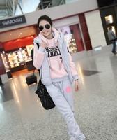 2013 autumn and winter women sweatshirt sportswear piece set thickening casual set long trousers vest