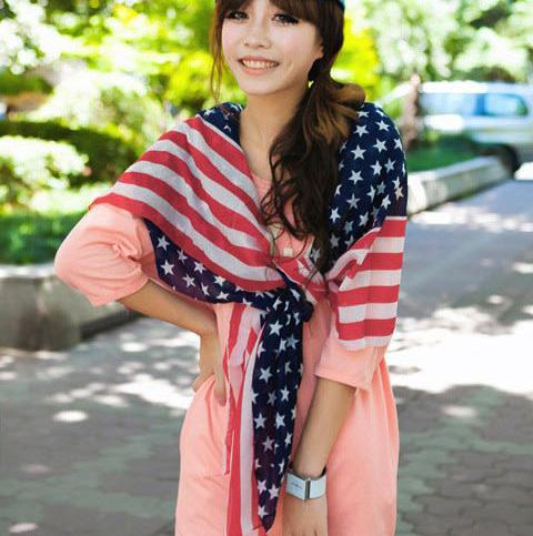 2013 fashion fall/winter scarves American flag chiffon silk scarf air conditioning cape beach chiffon designer scarves(China (Mainland))