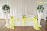 1 Yellow 5M*1.35M Crystal Shining Organza fabric wedding party decoration fabric wedding drape