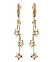 Simple design fashion women jewelry/ zircon stars 18K gold plated long drop earrings WL0417