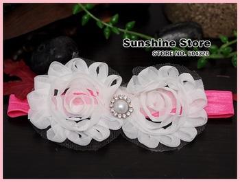 Sunshine store #2B2267  10 pcs/lot white baby headband shabby chic flower christening/baptism Lace Hair bows diamond/pearl CPAM