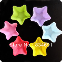 Holesales Set of 12 Pieces  (1 dozen)Star Shaped Silicon Cake Baking  Molds Jelly Mold Silicon Cupcake Pan Cake Cup