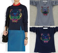 New  tiger embroidery round neck sweater long-sleeved ladies tiger head pullover