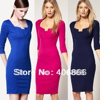 New Womens' Autumn Vintage Brief Three Quarter Slim Elegant Pencil Skirt Casual Dress