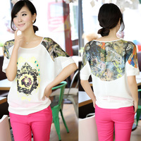 2013 summer new Women Korean yards bat loose chiffon shirt short-sleeved T-shirt shirt blouse small fresh