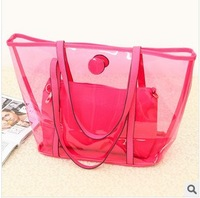 Free Shipping Fashion bag 2013 new candy color transparent plastic bag TYB151
