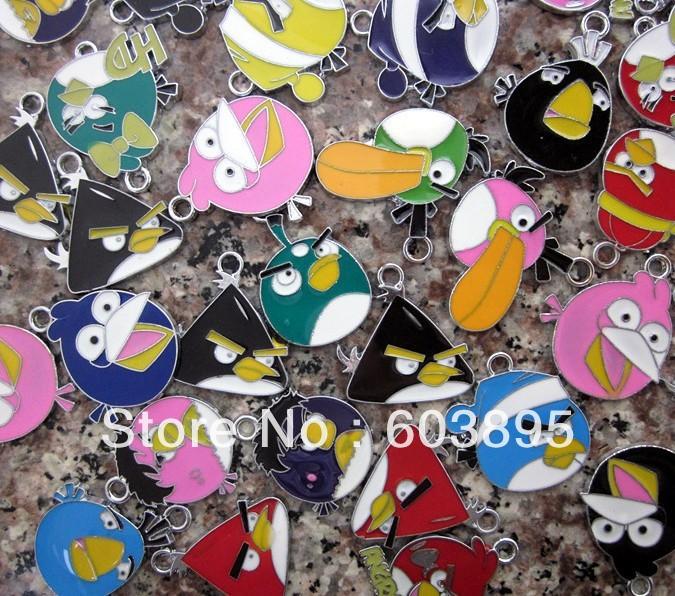 R85632! Christmas Wholesale lots 100PcsXSilver-tone bird Unique Enamel Christmas CAR Charms Pendants(China (Mainland))