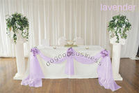 Free shipping New 1 lavender 5M*1.35M Sheer Organza Swag DIY Fabric Wedding Party Banquet Top Table Decor Stair Valance Bow