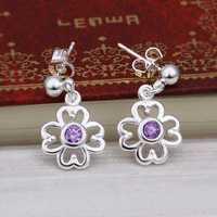 Hot Sell!Wholesale 925 silver earring,925 silver fashion jewelry Earrings,Inlaid Stone Zircon Drop Earring SMTE426