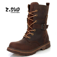 Z.Suo counter genuine first layer crazy horse lovers cowboy boots knight boots motorcycle boots trend 888