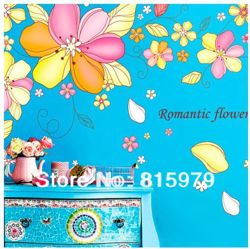 100cm*300cm XL Decoration furniture living room bedroom wall stickers romantic TV backdrop stickers home decor(China (Mainland))