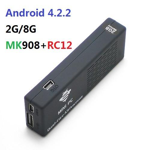 MK908 RK3188 Quad Core Google TV Stick Smart Android TV Box 2GB RAM Built-in Bluetooth IPTV Mini PC OS 4.2.2 + RC12 keyboard(China (Mainland))