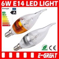 100PCS/LOT Ultra Bright E14 Led Candle Bulb 6W E14 Candle Light Cree 450lm Warm/Cool White AC85-265V CE/RoHS,DHL/EMS Shipping