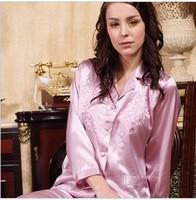 2012 embroidered small lapel Women faux silk sleepwear long-sleeve set twinset silk lounge