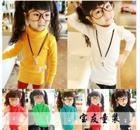 2013 New Fashion The Autumn Spring Fall Winter Female Kids Girls Baby Child Long Sleeve Turtleneck Solid Plain Long Basic Shirt