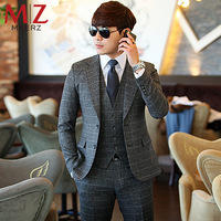 Fashion men's clothing gray plaid suit 3 piece (suit + vest + trousers) business suits casual male slim blazers
