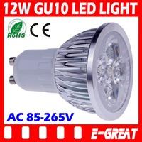 100PCS/LOT Ultra Bright Cree GU10 Led 12W Bulb GU10 Led Lamp Led Light Led Spotlight AC85-265V CE/RoHS Warm/Cool White