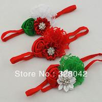 Trail order Christmas Gifts lace rosettes flower headbands satin ribbon flower Sparkling Rhinestone elastic headbands 20pcs/lot
