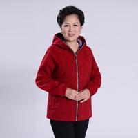 Quinquagenarian women's autumn outerwear mother clothing sweatshirt polar fleece fabric quinquagenarian sweatshirt hooded fleece