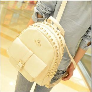 famous brand handbags Preppy style girls 2014 student bag  travel bag punk lovers double sided rivet school bag