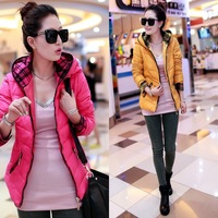 2013 women's shiny zipper down coat short design thickening ultra-light with a hood down coat 8801