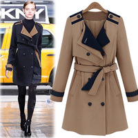 2013 autumn fashion long outerwear trench t color block ruslana korshunova lacing double breasted military overcoat