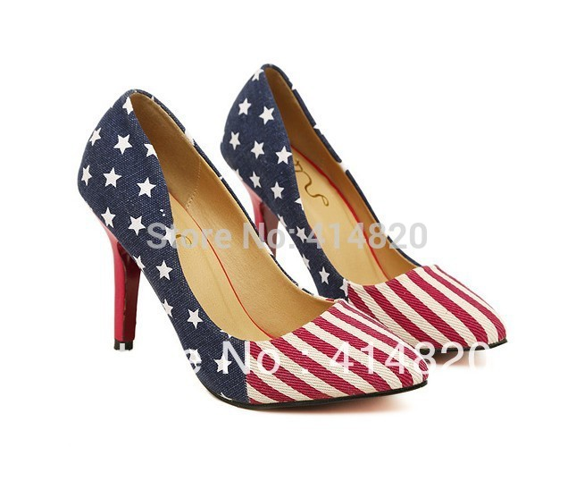 High quality Lady Platform Pumps American Flag Star Cowboy pointed Women high heels shoes size:34--39(China (Mainland))