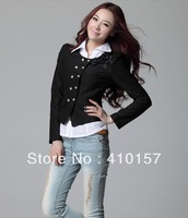 Fashion Good temperament New small coat Women Korean Slim thin OL short paragraph shrug small suit 3 color- Beige