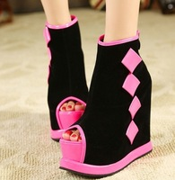 9-free shipping 2013 new style woman wedges peep-toe platform short boots/pumps ladies  ankle naked boots/shoes/footwear