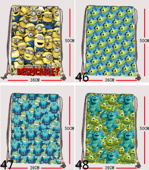 Despicable me minion Small milk canvas drawstring backpack bag Optional picture printed 36*50cm free shipping